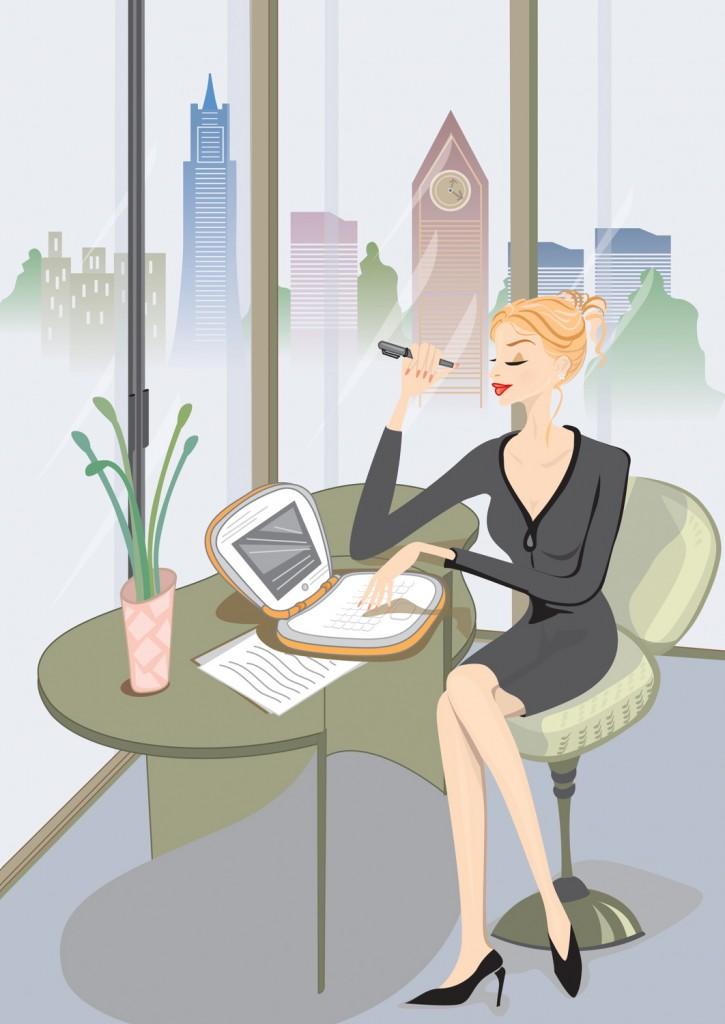 Una mujer que pasa mucho tiempo sentada