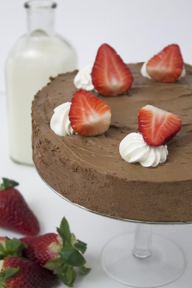 Mousse de chocolate con fresas naturales