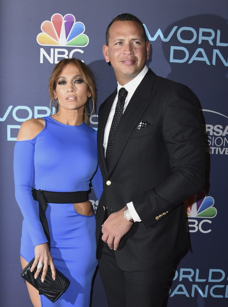 """Actress and singer Jennifer Lopez, left, and Alex Rodriguez at the """"World of Dance"""" presentation on Tuesday, Sept. 19, 2017, in West Hollywood, Calif."""