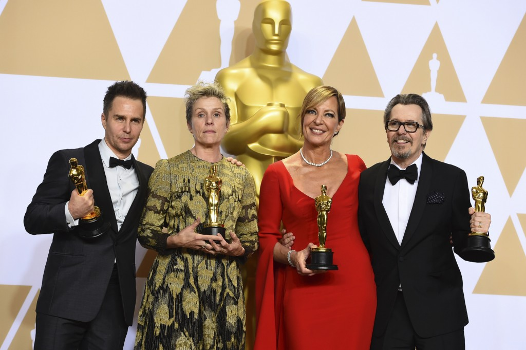 "Sam Rockwell, from left,Hinner H the award for best performance by an actor in a supporting role for ""Three Billboards Outside Ebbing, Missouri"", Frances McDormand, winner of the award for best performance by an actress in a leading role for ""Three Billboards Outside Ebbing, Missouri"", Allison Janney, winner of the award for best performance by an actress in a supporting role for ""I, Tonya"", and Gary Oldman, winner of the award for best performance by an actor in a leading role for ""Darkest Hour"", pose in the press room at the Oscars on Sunday, March 4, 2018, at the Dolby Theatre in Los Angeles. (Photo by Jordan Strauss/Invision/AP)"