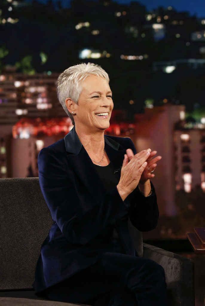 "JIMMY KIMMEL LIVE! - ""Jimmy Kimmel Live!"" airs every weeknight at 11:35 p.m. EDT and features a diverse lineup of guests that include celebrities, athletes, musical acts, comedians and human interest subjects, along with comedy bits and a house band. The guests for Wednesday, October 10 included Jamie Lee Curtis (""Halloween""), Olivia Hamilton (""First Man""), and musical guest Dua Lipa. (Randy Holmes/ABC via Getty Images) JAMIE LEE CURTIS"