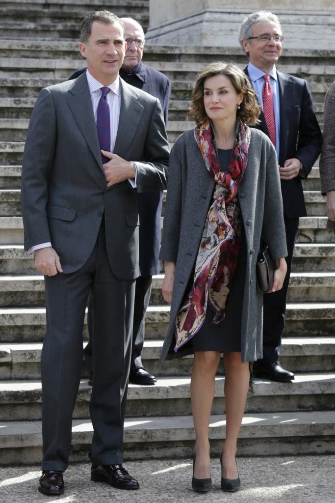 Los reyes de España Felipe VI y Letizia Ortiz durante la inauguración de la exposición 'Miguel de Cervantes'
