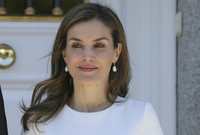 Spanish Queen Letizia welcome the President of Slovenia, Borut Pahor, at the Zarzuela Palace in Madrid on Tuesday 27 June 2017.
