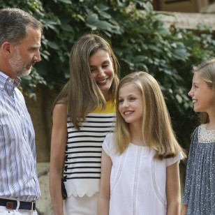 Spanish King Felipe VI and Queen Letizia with Princess Leonor and Infant Sofia de Borbon during a summer photo session at MariventPalace, Mallorca, on Monday 31 July 2017.
