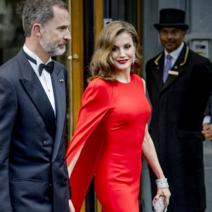 "Spanish Kings Felipe VI and Queen Letizia attending act ""50 birthday for king Willem Alexander "" en la foto : vestida por la firma "" Stella McCartney """