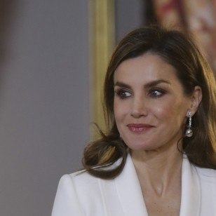 Spanish Queen Letizia Ortiz during reception to the diplomatic corps accredited in Spain on Wednesday Jan. 31, 2018