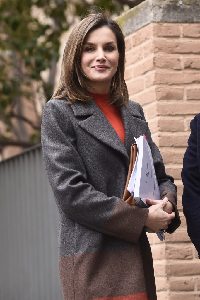Spanish Queen Letizia Ortiz during a working meeting with the board of the Spanish federation of rare diseases (Feder) in Madrid Wednesday, Jan. 14, 2018