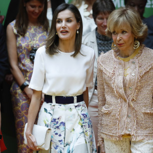 "Spanish Queen Letizia during meeting with members of "" Mujeres por Africa "" foundation in Madrid on Tuesday , 03 July 2018"