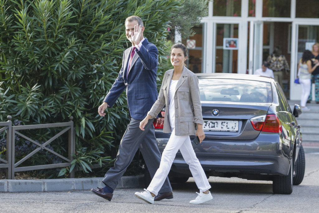 Spanish Kings Felipe VI and Letizia Ortiz during the first day of SantaMariadelosRosales school 2018 / 2019 in Madrid on Thursday , 11 September 2018