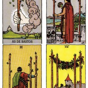 Significado de las cartas del tarot: as de bastos, dos de bastos, tres de bastos y cuatro de bastos