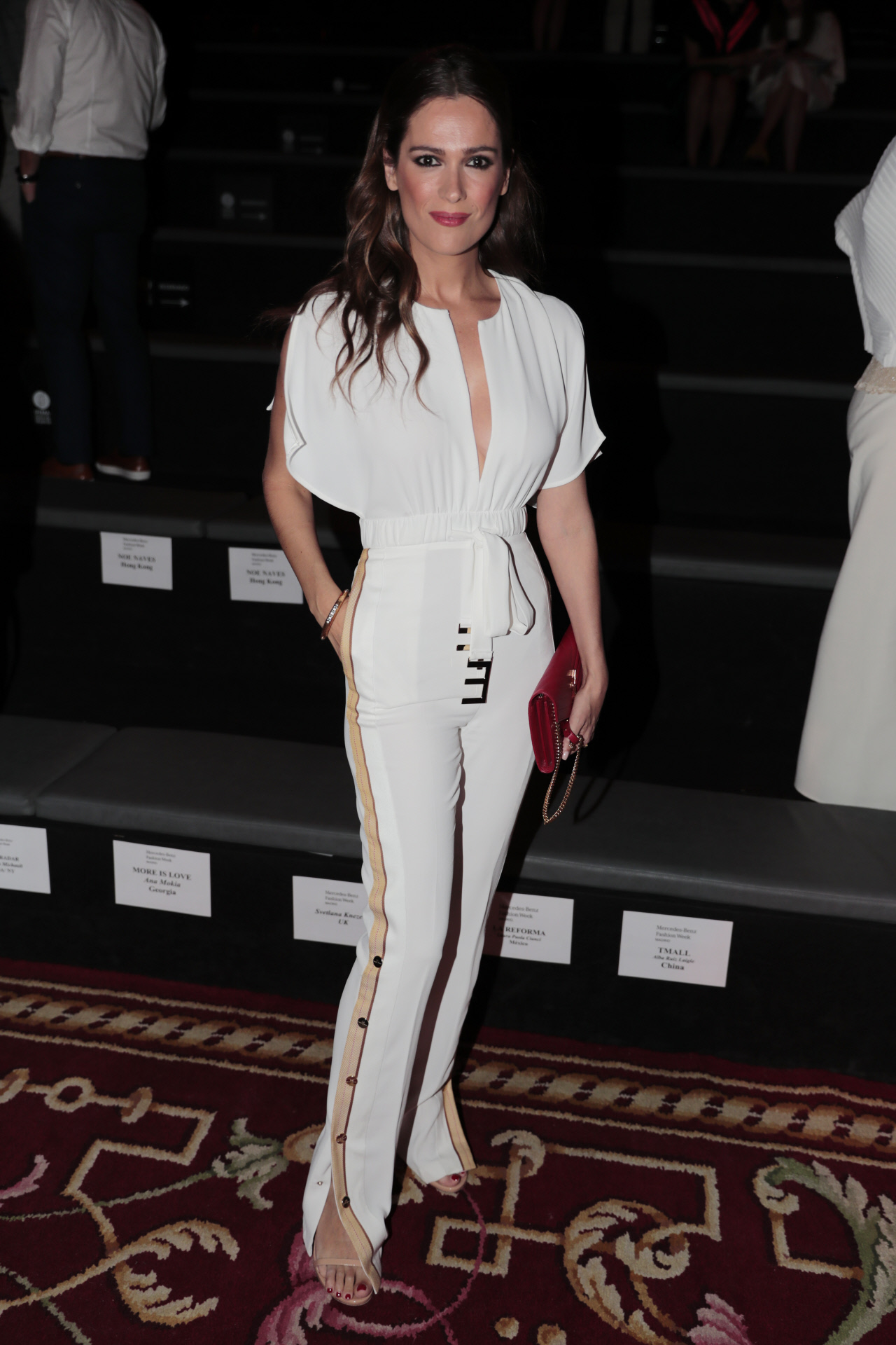 Model and presenter Mar Saura at the front row of RobertoVerino collection runway during Pasarela Cibeles - Mercedes-Benz Fashion Week Madrid 2018, in Madrid, on Monday 9th July, 2018
