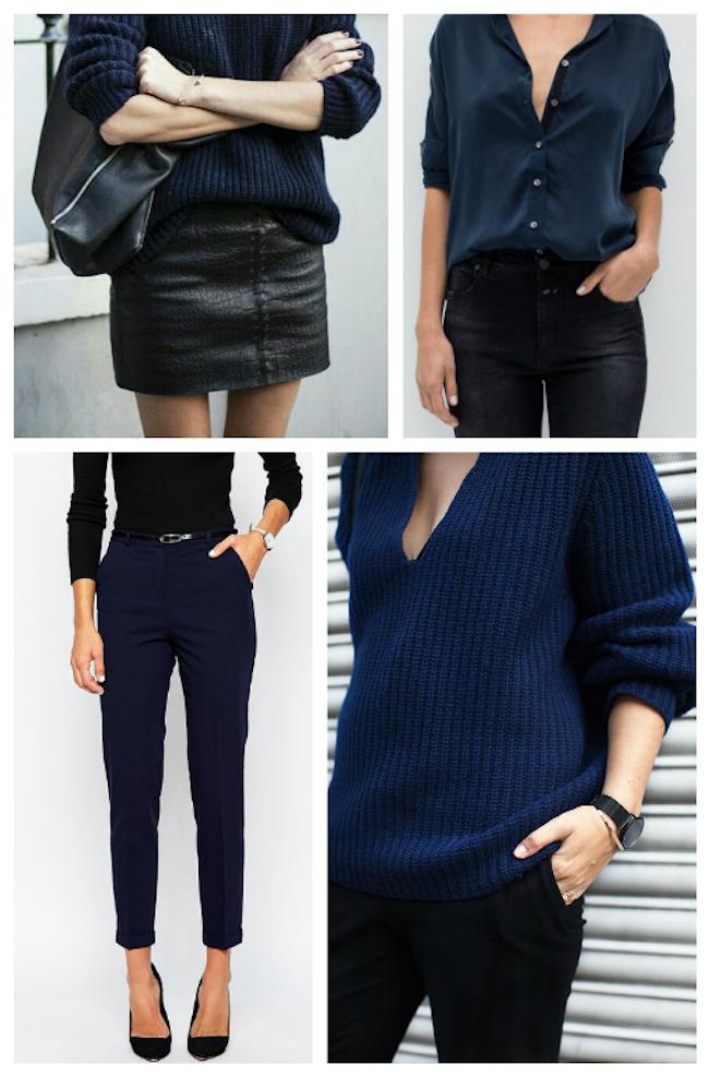 Inés Sainz apuesta por la combinación de azul marino y negro