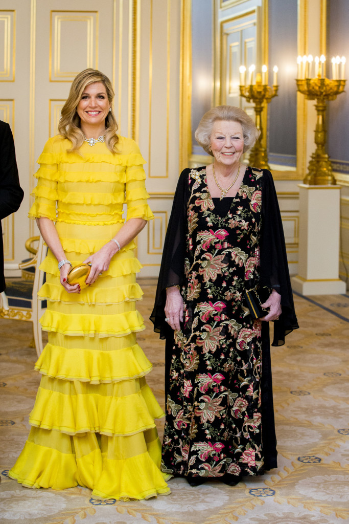 Queen Maxima and Princess Beatrix, at royal palace Noordeinde in The Hague, Netherlands, Tuesday, March 20, 2018