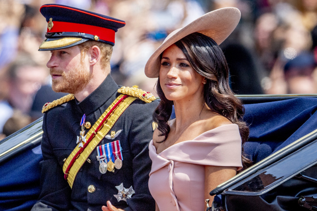 Prince Harry and Meghan Markle attending Trooping The Colour, London. *** Local Caption *** .