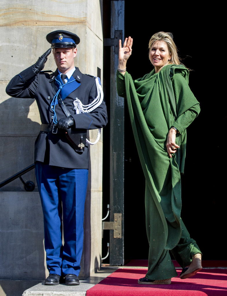 Queen Maxima of The Netherlands arrives at the RoyalPalace in Amsterdam, on April 9, 2019, to attend the annual gala dinner for the Corps Diplomatique in the Royal Palace