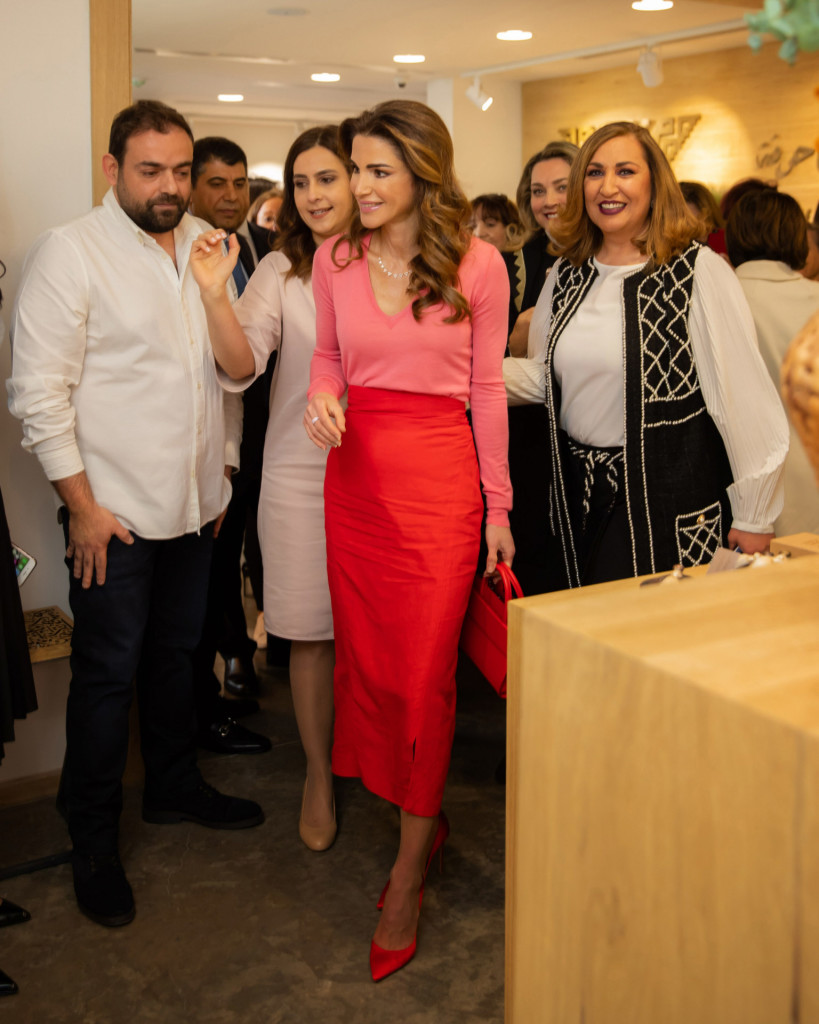 Queen Rania visits the Jordan River Foundation's 23rd annual handicrafts exhibition in Amman, on April 2, 2019, introducing a new collection of items by the Jordan River Foundation  *** Local Caption *** .