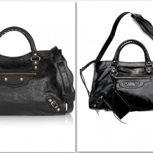 Bolso negro con detalles dorados de Balenciaga vs. bolso de piel de Ilevahc