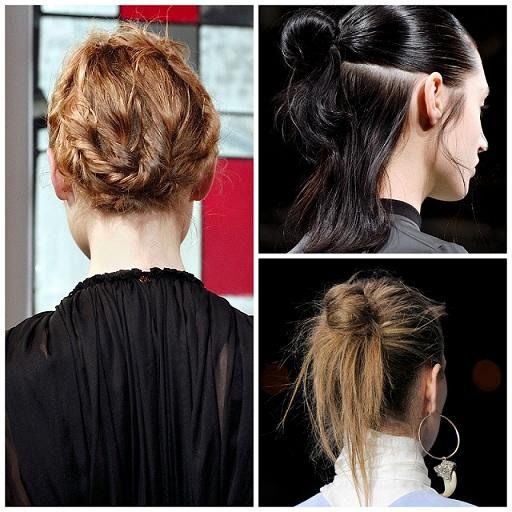 Los retorcidos están de moda. Mechones de pelo (izda) enroscado y entrelazado que se sujeta en la parte superior de la cabeza. Semirrecogido (arriba) effortless, con pelo efecto húmedo y media melena lisa. Estilo