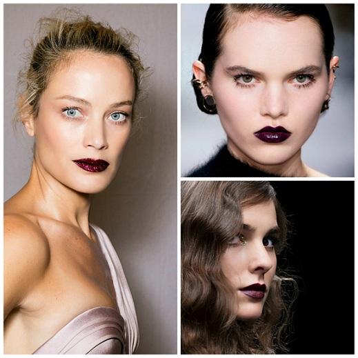 En los desfiles de Versace (izda) Dior (arriba) y Richmond (abajo), las modelos llevaban los labios maquillados con los tonos tenebrosos más trendy de la temporada invernal.