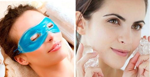 El frío es el mejor de los descongestionantes para la piel. El antifaz con gel para combatir bolsas y ojeras y refrescar la mira y los cubitos de hielo hacen efecto lifting en el rostro.