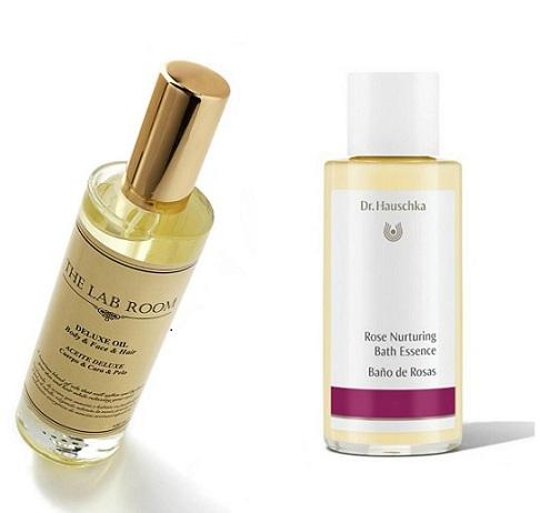 De Luxe Oil de The Lab Room (36 €). Aceite de baño armonizante con agua de rosas, aceite esencial de rosa y extractos de pétalos de rosas. Baño de rosas de Dr. Hauscka (19,40 €).