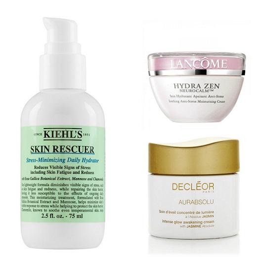 Antiestrés: Skin Rescuer de Kiehl's (35 €). Crema Hidratante Antiestrés Hydra Zen Neurocalm de Lancôme (65 €). Aurabsolu Intense Glow Awakening Cream de Decléor, hidratante diaria al absoluto de jazmín. (58,65 €)