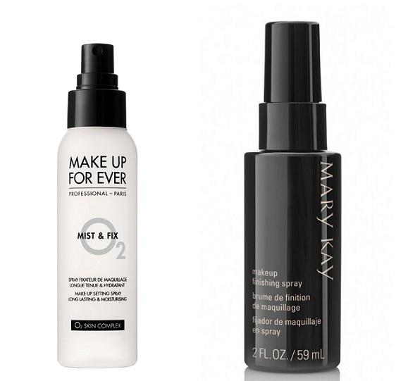 Mist & Fix de Make Up Forever fijador universal que sella el maquillaje y mantiene el color fresco (23,70 €). Make Up Finishing Spray de Mary Kay para todos los tipos de piel, incluida la grasa. Refresca el rostro, no mancha, se seca rápidamente y se elimina fácilmente (18 €).