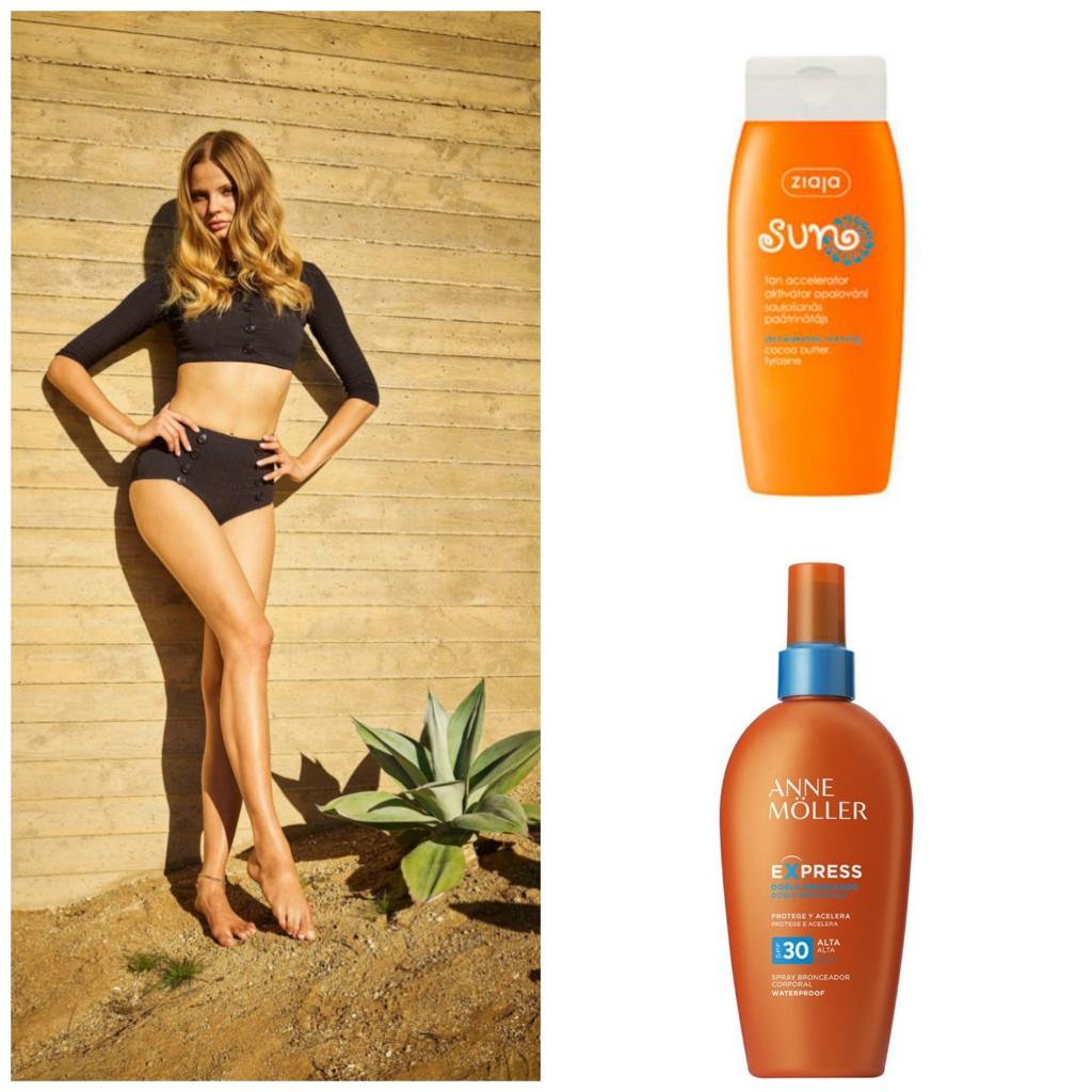 Ziaja: Loción para el cuerpo que acelera el bronceado natural de la piel (3,20 €). Anne Möller: bronceador SPF15 activador de la melanina (22,7o €)
